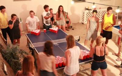Playing Beer pong at Bikini Hostel Miami Beach
