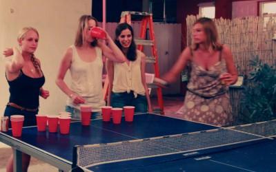 Guests playing Beer Pong at Bikini Hostel